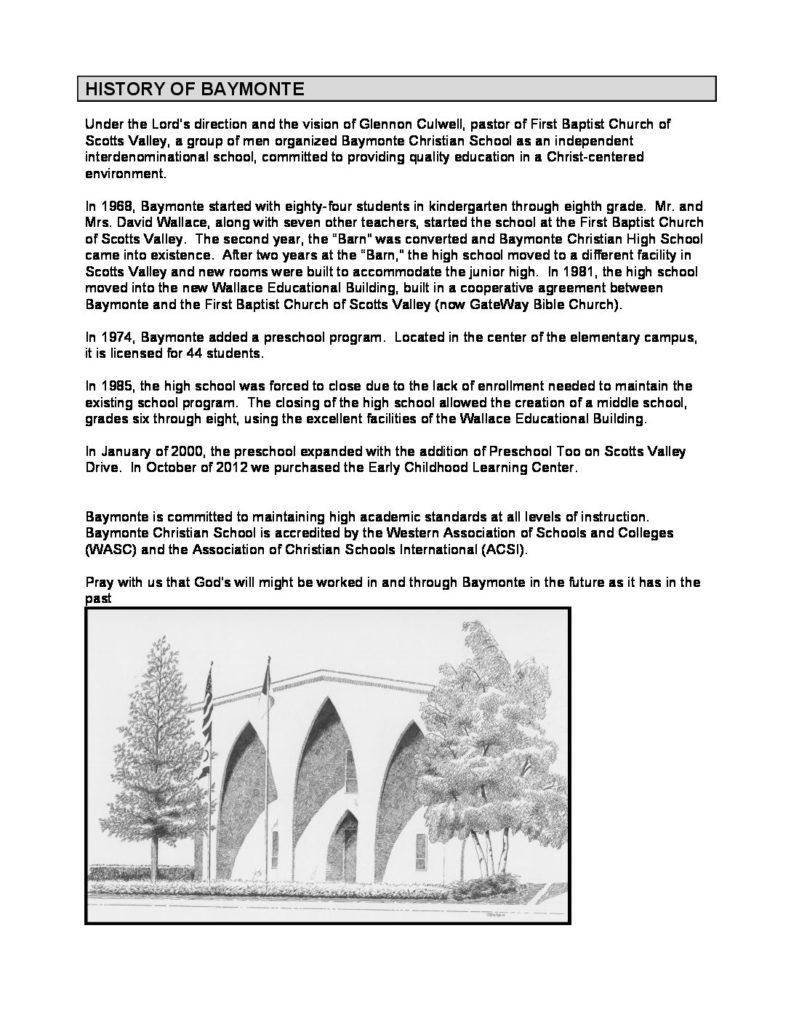 Elementary Handbook - Baymonte Christian School