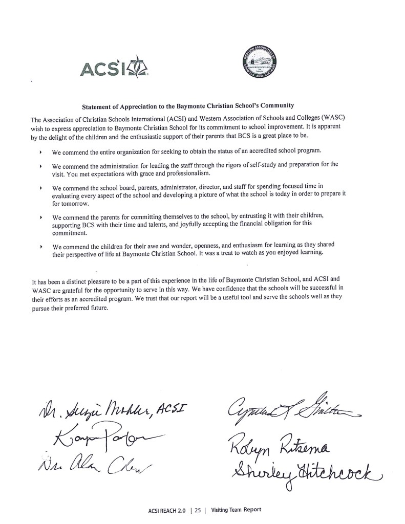 Accreditation Team Letter