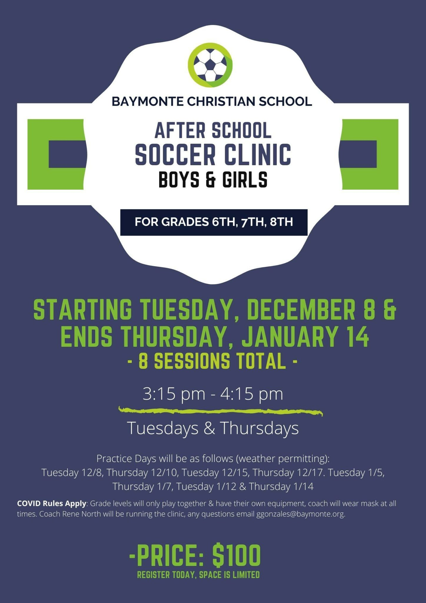 After School Soccer Clinic Offered to BCS Middle School Students
