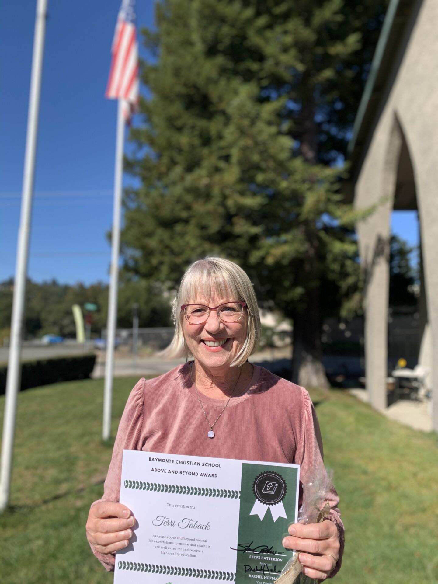 Above and Beyond Award: Terri Toback